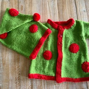 HAND KNIT BABY SWEATER & HAT